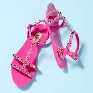 Hot pink Valentino jelly PVC Rockstud Flat Sandals